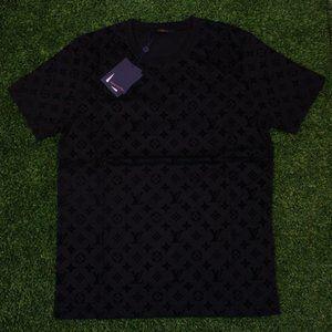 Louis Vuitton Black Velvet Monogram Print T-Shirt